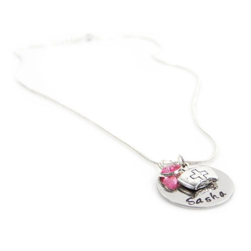 Personalised Birthstone Necklace with Nurse Charm – Gift Boxed & Free Delivery UK